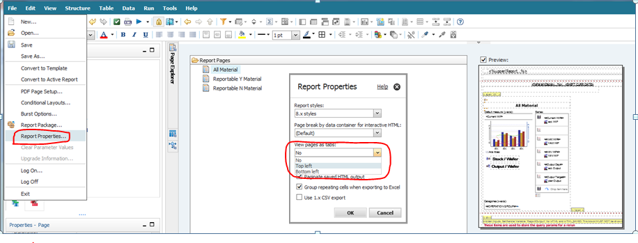 Report Studio - View Pages as Tabs